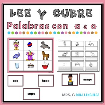 Spanish Read and Cover Game Syllables with 'a' and 'o'