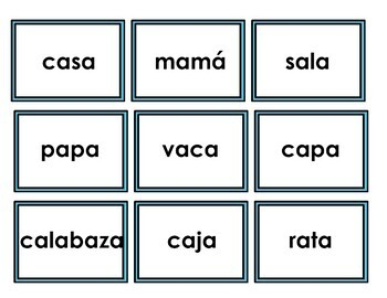 Spanish Read and Cover Game Syllables with 'a'