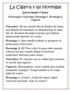 Spanish Reader's Theater: La Cigarra y las Hormigas- Fabulas