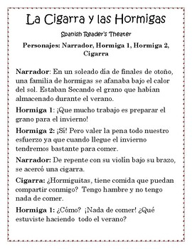 Spanish Reader's Theater: La Cigarra y las Hormigas- Fabulas