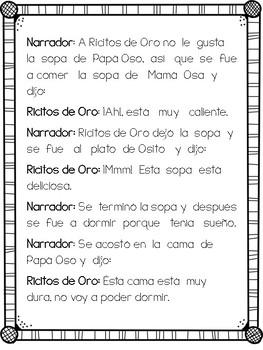 Spanish Readers' Theater /Ricitos de Oro Obra de teatro