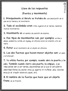 Spanish Reader's Theater Script: Force and Motion, Push and Pull, Friction