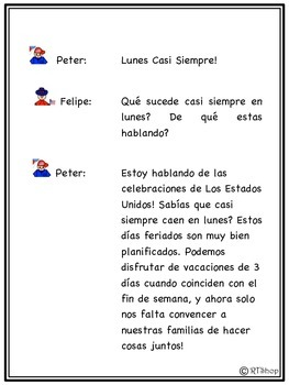 Spanish Readers' Theater Script: American Holidays, Celebrations, US History