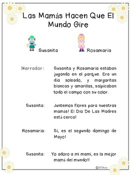 Spanish Reader's Theater Script,  Mother's Day/Día De La Madre, Read And Write