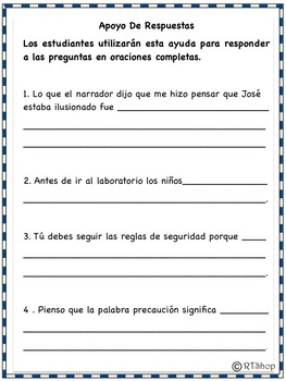 Spanish Reader's Theater Script, Reading Science Center, Lab Safety Rules