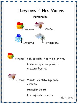 Spanish Reader's Theater Script: Reading-Science Integration, Seasons, Full Pack