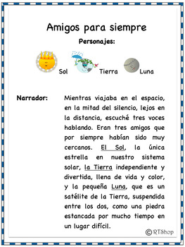 Spanish Readers' Theater Script, Reading-Science Integration - Sol, Luna, Tierra