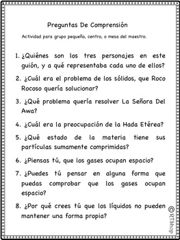Spanish Reader's Theater Script: Reading-Science Center, States Of Matter