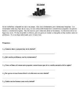 Spanish Reading Activities (Level 1) -Can be done in Stations