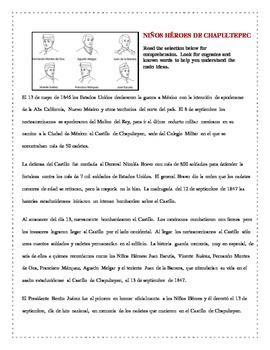 Spanish Reading Activity for Niños Héroes de Chapultepec