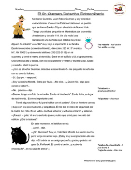 Spanish Reading: Adjectives and Personal Info (past tense)
