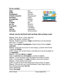En la ciudad Lectura - In the City Spanish Reading + Worksheet (a, al, de, del)