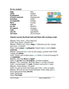 La ciudad Lectura - Spanish City Reading + Worksheet + Handout (a, al, de, del)
