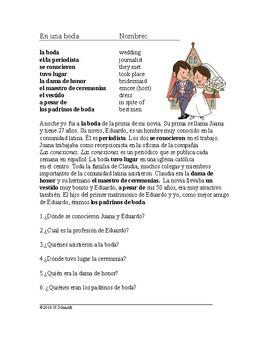 Una boda Lectura - At a Wedding Spanish Reading (preterite and imperfect)
