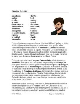 Enrique Iglesias Biography + Worksheet - Lectura de la vida de Enrique