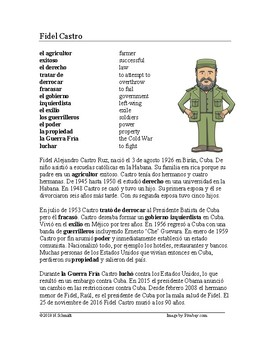 Fidel Castro Biografía - Spanish Biography + Worksheet