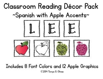 Spanish Reading Classroom Decor with Apple Accent Pics