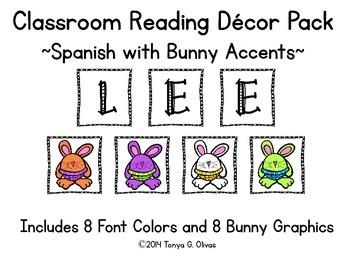 Spanish Reading Classroom Decor with Bunny Accent Pics
