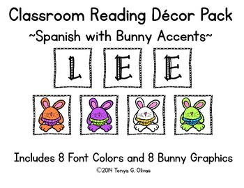 Spanish Reading Classroom Decor with Bunny Accent Pics