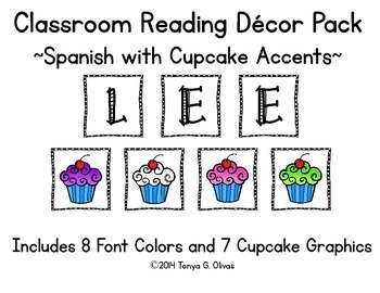 Spanish Reading Classroom Decor with Cupcake Accent Pics