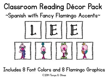 Spanish Reading Classroom Decor with Fancy Flamingo Accent Pics
