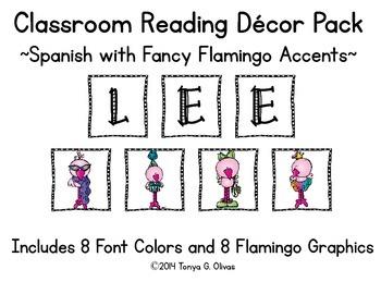 Spanish Reading Classroom Decor with Fancy Flamingo Accent Pics