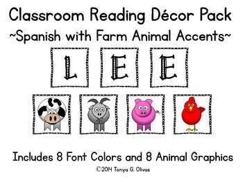 Spanish Reading Classroom Decor with Farm Animal Accent Pics