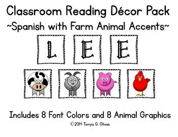 Spanish Reading Classroom Decor with Farm Animal Accent Pics
