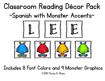 Spanish Reading Classroom Decor with Monster Accent Pics