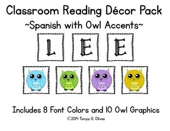 Spanish Reading Classroom Decor with Owl Accent Pics