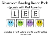 Spanish Reading Classroom Decor with Owl Accent Pics