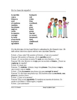 En la clase de español Lectura ~ Easy Spanish Script and W