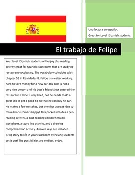 Spanish Reading & Comprehension Activities- Restaurant Vocab Ch. 5B Realidades B
