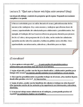 ¿Qué van a hacer en el verano? Spanish Reading Activity