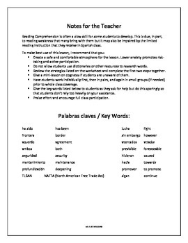 Spanish Reading Comprehension Activity for September 11