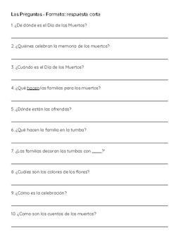 Spanish Reading Comprehension - Cultura - El Día de los Muertos