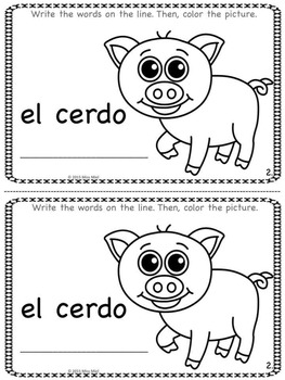 Farm Animals in Spanish Vocabulary Writing Booklet Pre-K-2nd FREEBIE!