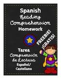 Spanish Reading Comprehension Homework Log Fiction 3rd and 4th Grade