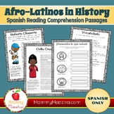 Spanish Reading Comprehension Passages: Famous Afro-Latinos (vol 1)