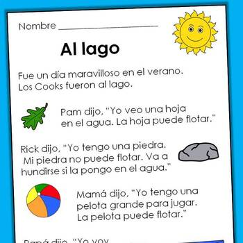 Spanish Reading Comprehension Passages ~ Level Five