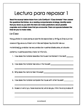 Spanish Reading Comprehension Activity