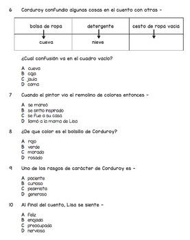 Spanish Reading Comprehension - Un Bolsillo Para Corduroy