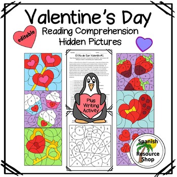 Spanish Valentine's Day Reading Comprehension Hidden Pictures