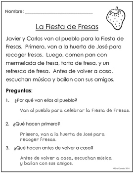 Spanish Reading Comprehension for Summer: No Prep!