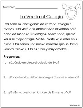 Spanish Reading Comprehension for Fall Autumn: No Prep!