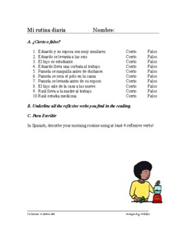 Spanish Reflexive Verbs Reading + Worksheet - Verbos Reflexivos Lectura