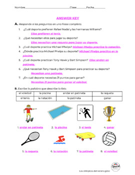 Spanish Reading: Summer Olympic Sports