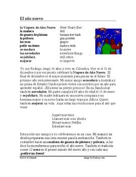 El año nuevo Lectura ~ New Year's Eve Spanish Reading (future tense)