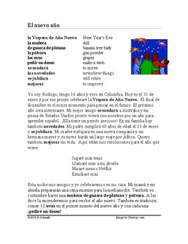 El año nuevo Lectura ~ New Year's Eve Spanish Reading (fut