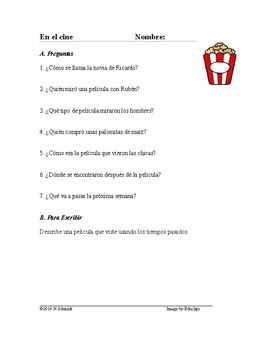 En el cine Lectura - At the Movies Spanish Reading (Imperfecto /Pretérito)